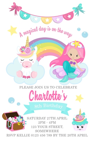 Unicorn and mermaid invitation