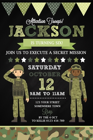 boys army soldier invitation