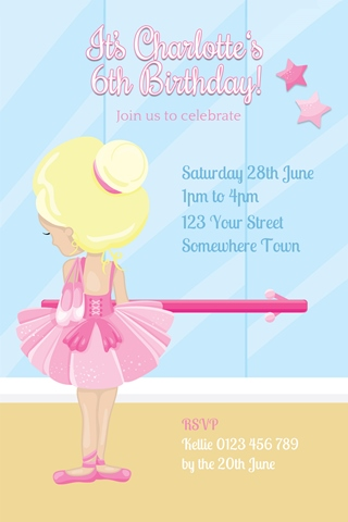 girl ballerina birthday invitations