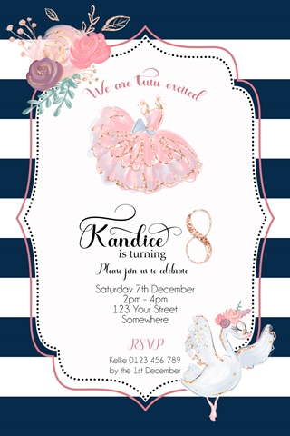 ballet tutu navy pink swan girls birthday invitation