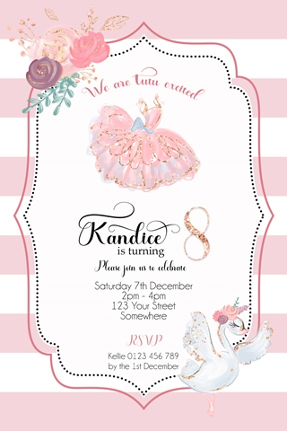 ballet tutu swan girls birthday invitation