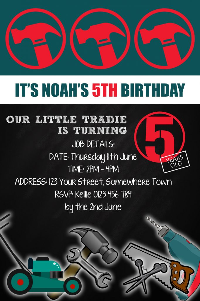 Bunnings themed birthday party invitations