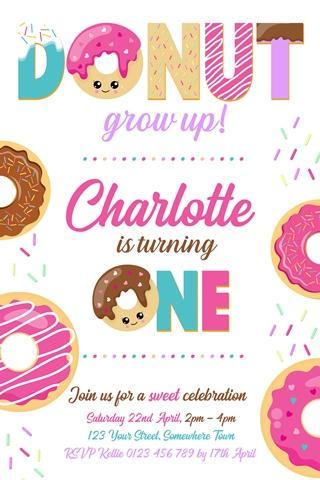 donut doughnut birthday invitation