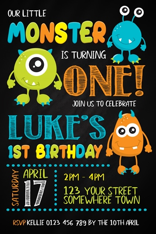 little monster boys and girls birthday party invitation
