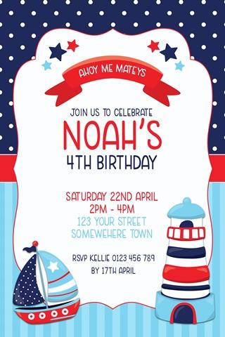 boys nautical lighthouse red blue birthday invitation