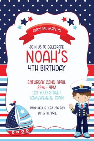 boys sailor navy nautical birthday party invitations