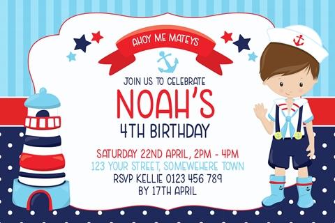 boys red blue navy nautical sailor birthday invitation