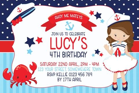 girls red blue navy nautical sailor birthday invitation