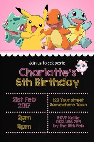girls pokemon birthday party invitation