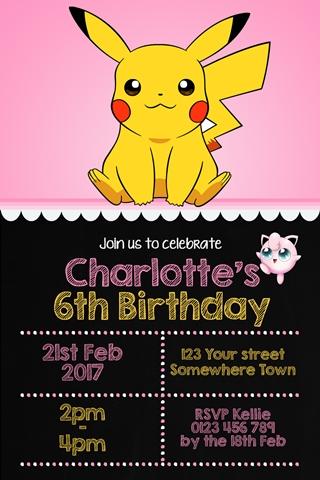 girls pokemon pikachu birthday party invitation