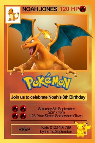 pokemon charizard birthday party invitation