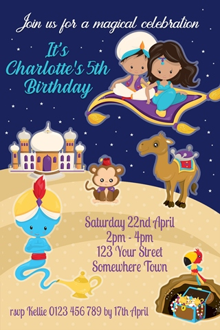 Prince Aladdin and Jasmine birthday invitation