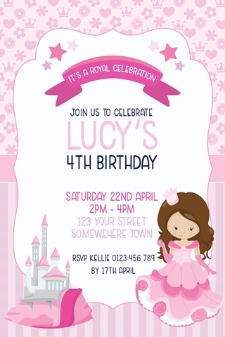 girls pink princess invitation