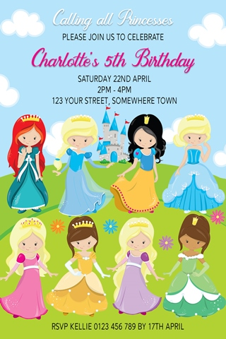 princesses invitation