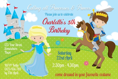 prince charming and princess horse invitation