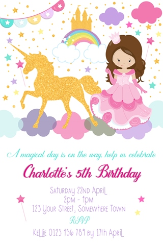 girls unicorn and princess invitation