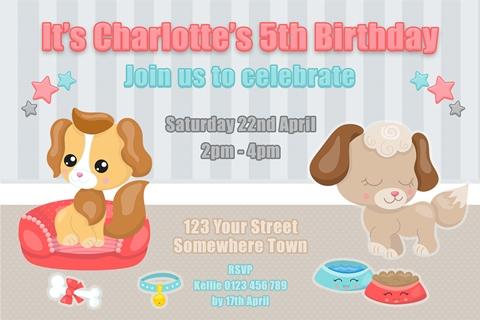 adopt a pet puppy birthday invitation