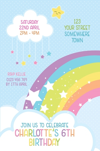 girls cloud rainbow star birthday invitation