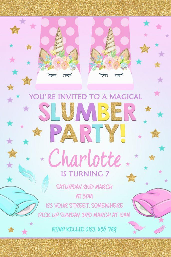 girls sleepover slumber party invitation