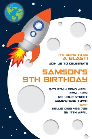 Space moon planet birthday party invitations