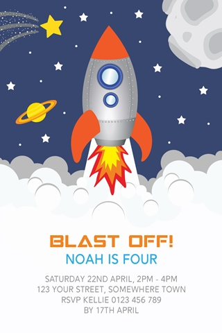 Space rocket birthday party invitations