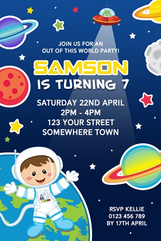 Space astronaut alien birthday party invitations