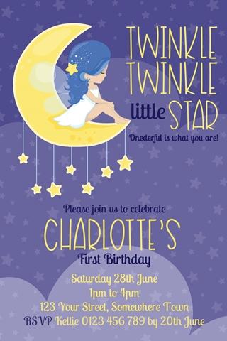 Twinkle Twinkle little star girls invitation