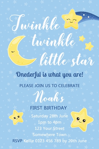 Twinkle Twinkle little star boys girls invitation