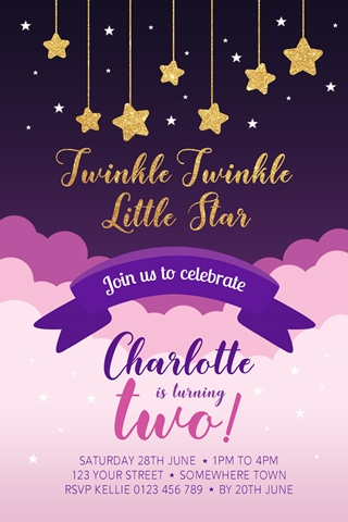 Twinkle Twinkle little star girls invitation