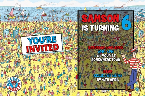 Where's Wally Waldo invitation invite