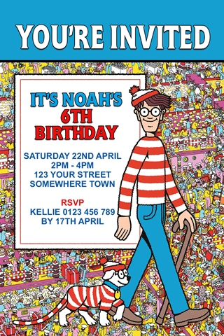Where's Wally Waldo invitation
