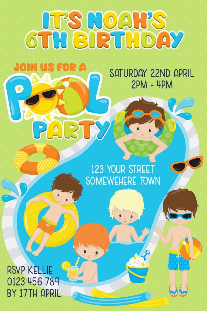 boys fun pool party birthday party invitation
