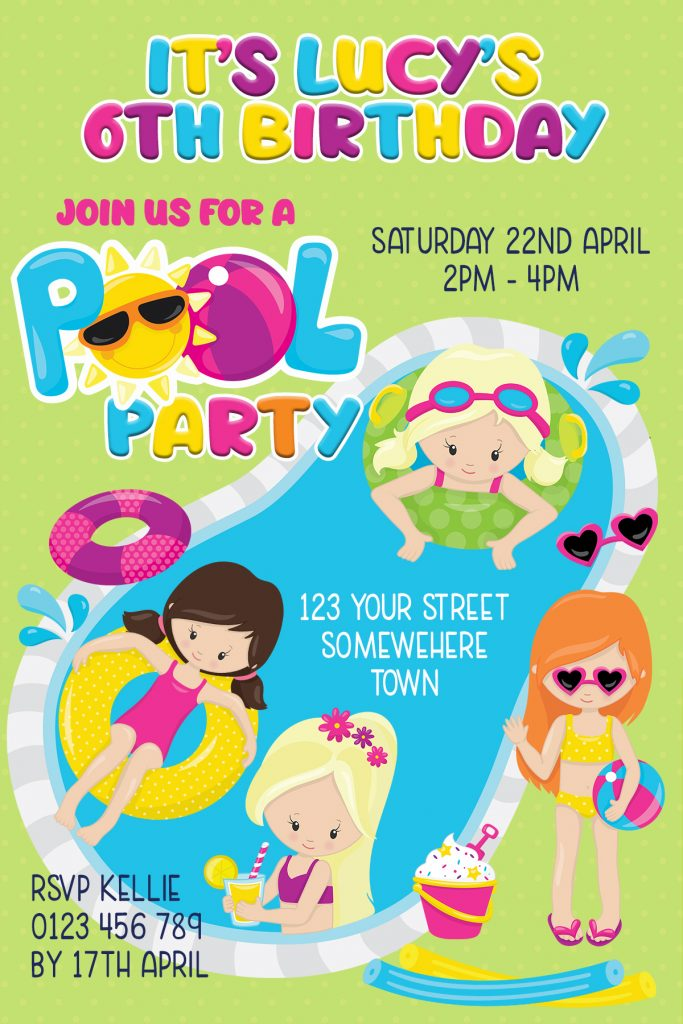 girls fun pool party birthday party invitation