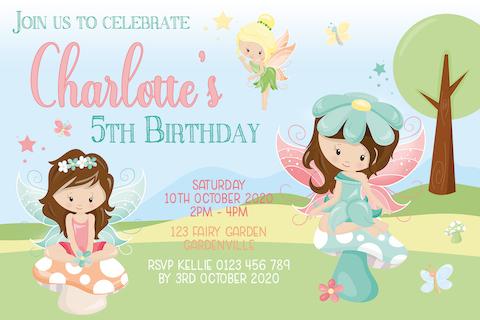 Girls fairy garden birthday party invitation invite
