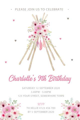 girls boho floral feather teepee birthday party invitation invite
