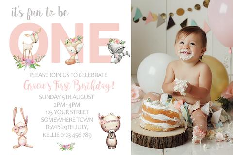 Girls boho woodland animals invitation invite with photo