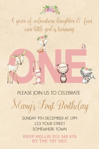 Girls boho woodland animals invitation invite