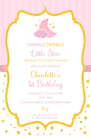 girls twinkle little star invitation invite pink gold glitter