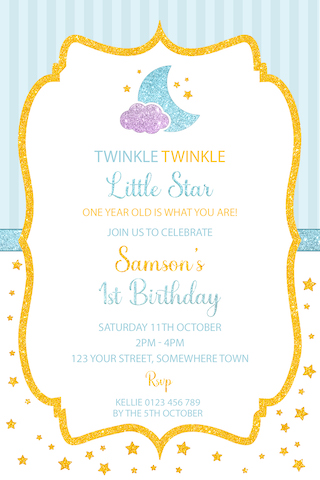 boys twinkle little star invitation invite blue gold glitter