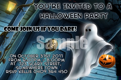 Halloween party invitations invites scary ghost