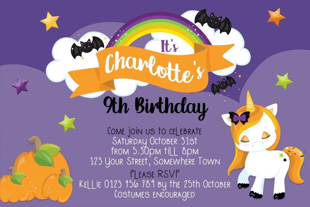 Halloween Unicorn girls birthday invitation