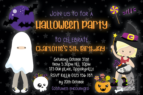 halloween birthday party dress up invitation