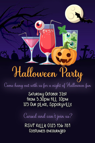 Halloween party drinks cocktails invitations