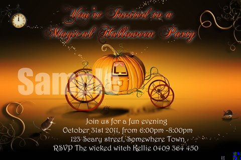 magical Halloween party invitations invites pumpkin
