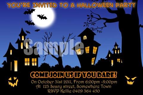 Halloween party invitations invites scary moon