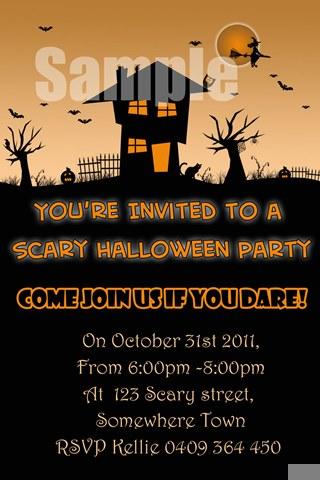 Halloween party invitations invites scary house