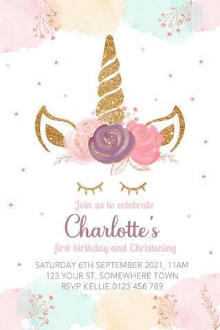 pink purple pastel unicorn invite invitation
